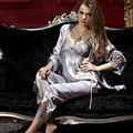 XIFENNI Marca Mujeres Pijamas de Satén de Seda Bordado de Tres Piezas Conjuntos de Pijamas ropa de Dormir de Seda de Imitación de Manga Larga Plus 3XL 8306