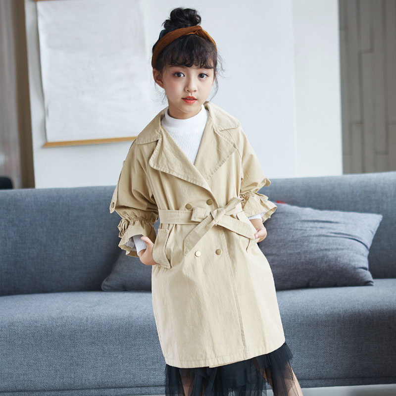 cotton trench coats for girls autumn flare sleeve little big girls jackets with sashes double-breasted coats for girls outwear