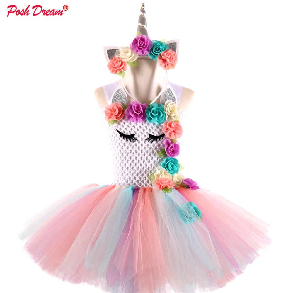 18bb3acc2ea96 POSH DREAM Peach Pink Flower Kids Girls Party Dresses Unicorn Rainbow  Flower Cosplay Costume with Headband New Baby Girls Cloth