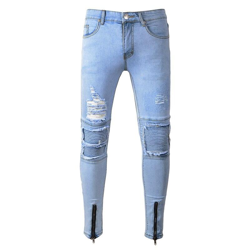 2019 Men's high-grade pure cotton tight broken hole jeans/Male fashion High quality Zipper design Casual pencil trousers 28-38