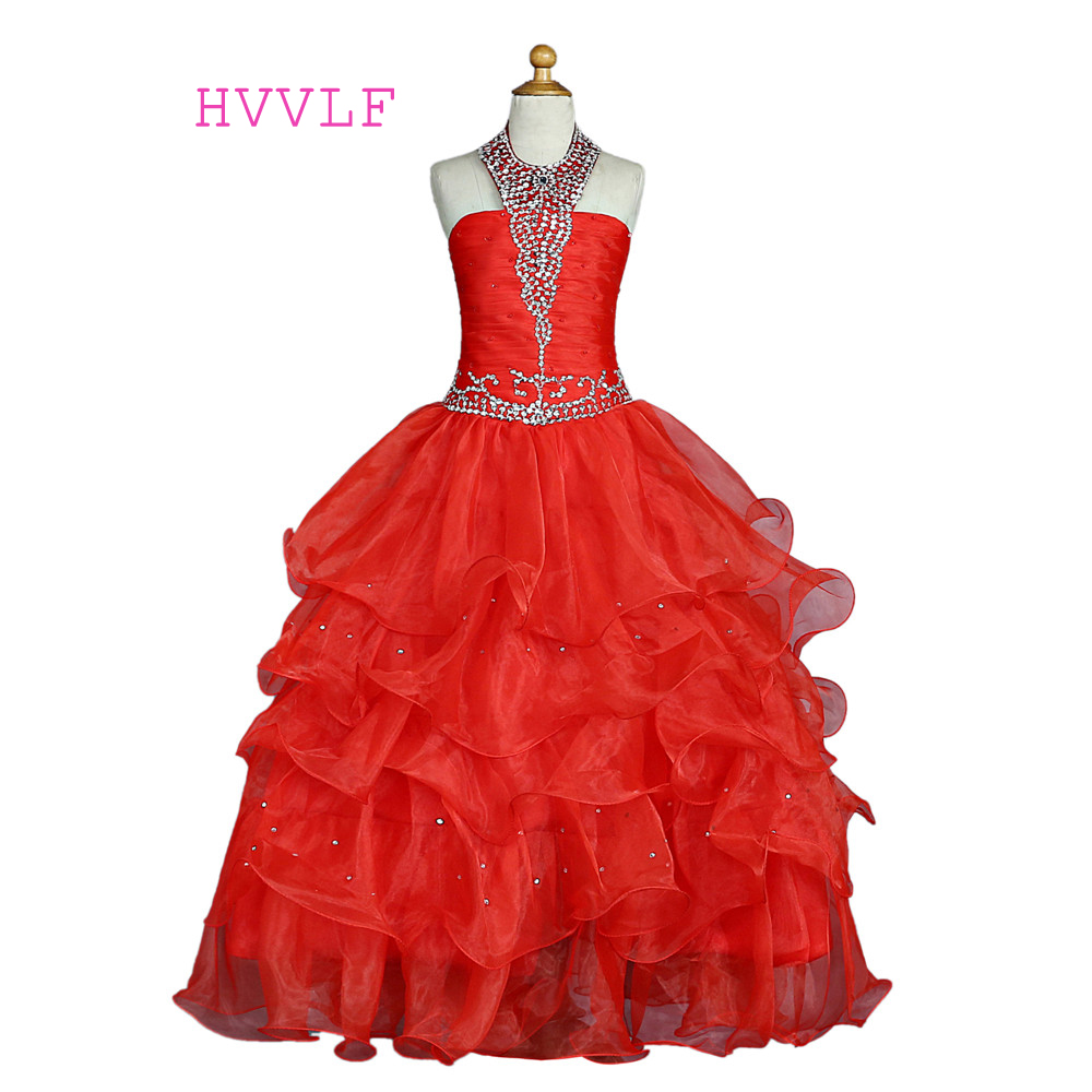 Red 2019 Girls Pageant Dresses For Weddings Ball Gown Halter Organza Tiered Beaded Crystals Flower Girl Dresses For Little Girls