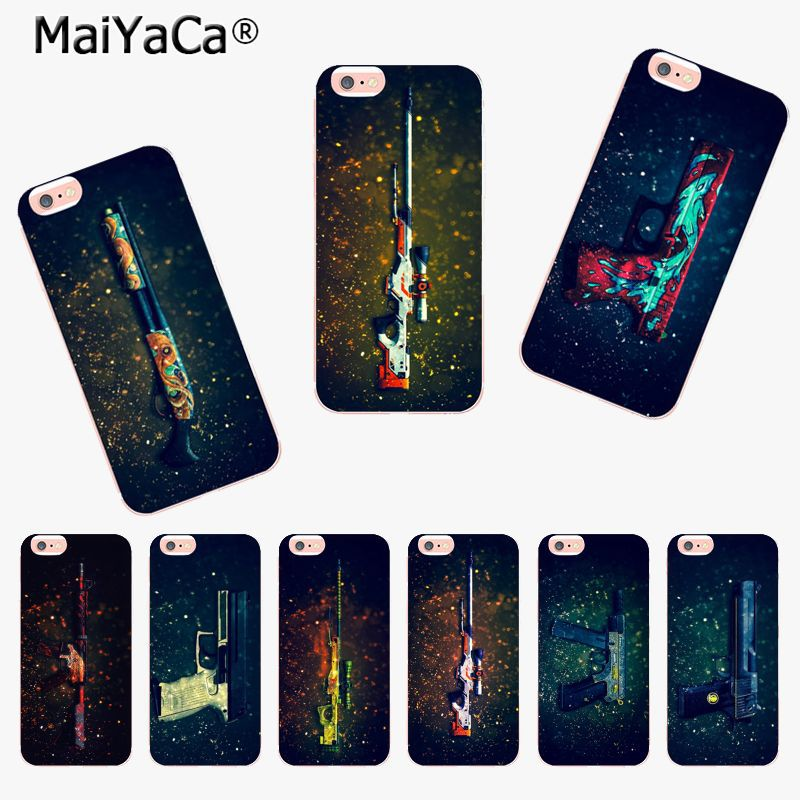 Capable Maiyaca For Iphone 7 6 X Case Cs Counter Strike Game Weapon Gun Printing Tpu Phone Case For Iphone X 6 7 6s 7plus 8 8plus Xs Xr Half-wrapped Case