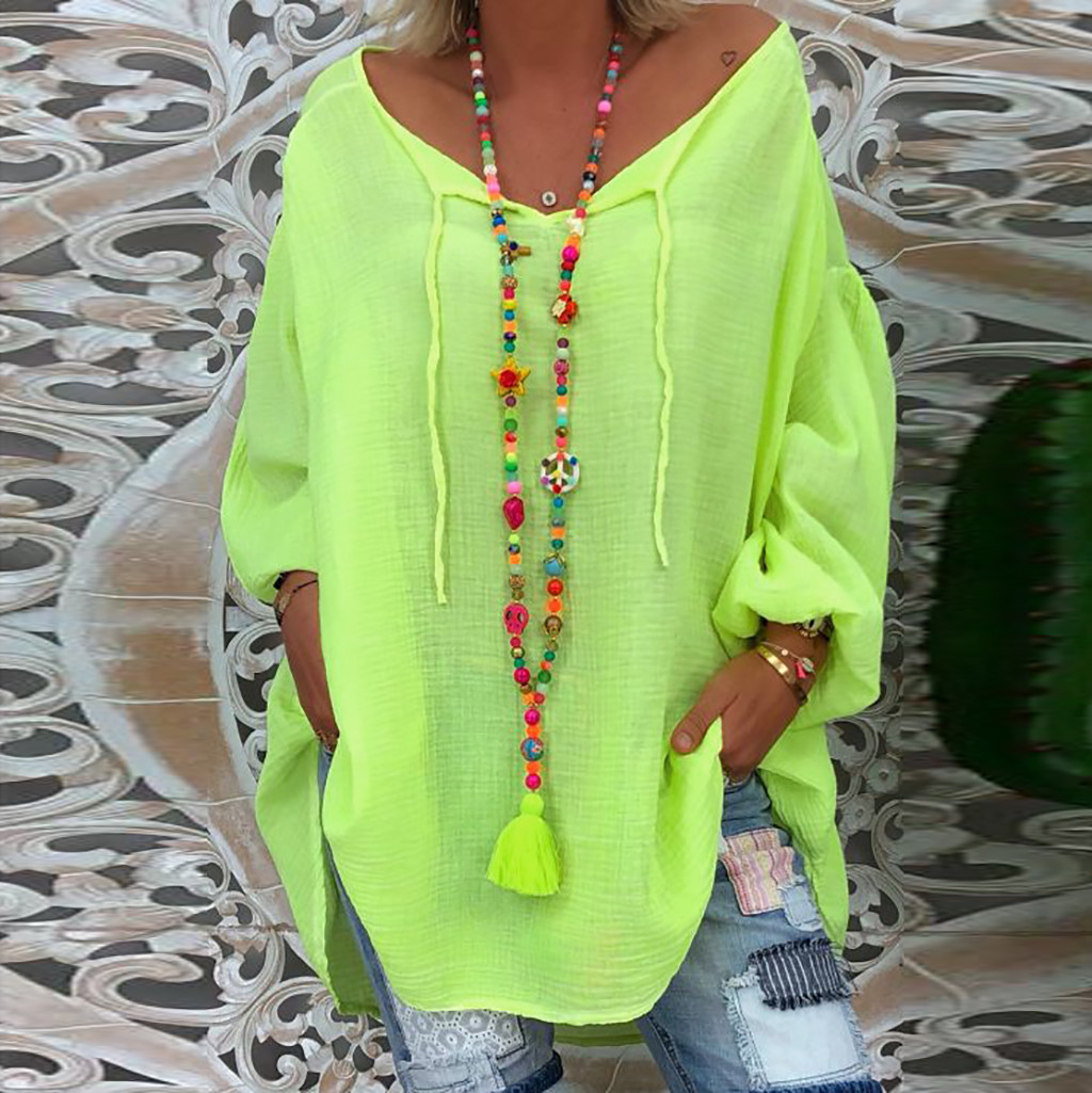 2019 Women's Fluorescent Green Blouse Autumn Winter Plus Size Loose Long Sleeve Solid V-neck Pullover Tops Shirt Clothing#G2