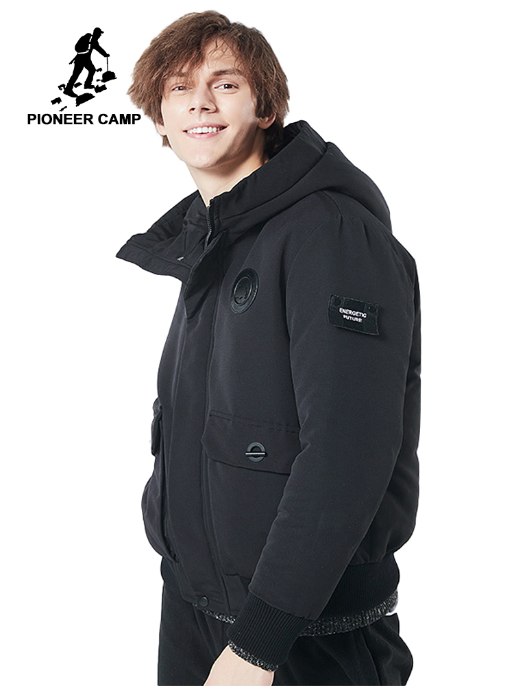 e16e5be3f09 Pioneer Camp new thick winter jacket men brand clothing hooded warm coat  male top quality black solid parkas jacket AMF705280