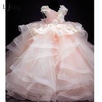2017 Baby Pink Exuberante Vestidos Del Desfile Para Chicas 3D de Encaje de Flores de Perlas de Los Niños Imágenes Photoshoots Vestidos Vestidos de Niña
