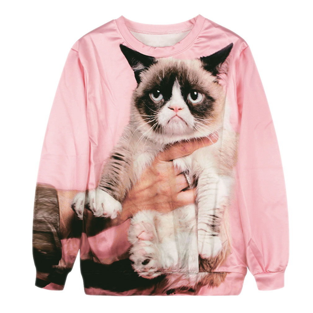 e6ebb7c7 Autunmn Fashion Animal Printed 3d Chat Sweatshirts Women's Grumpy ...