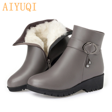 Women boots 2019 new genuine leather female snow boots  big size 42 43 warm thick wool boots lady  flat mother winter boots цена