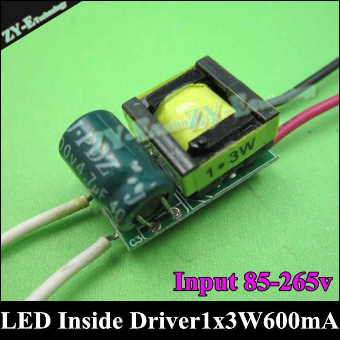 20pcs 1x3W led inside driver 3W 600mA LED Driver Lighting Transformers Input AC85-265V output DC3-4v for 3W E27 Gu10 LED light