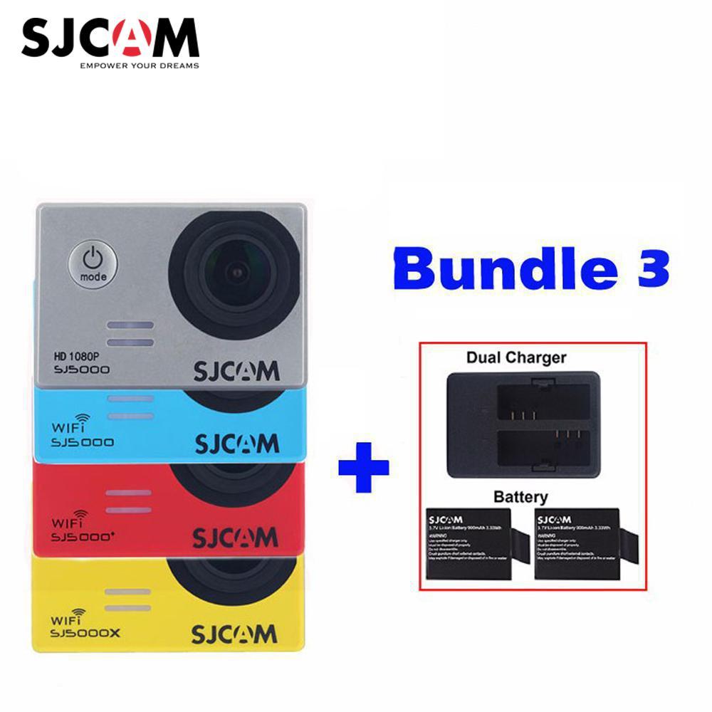 D'origine SJCAM SJ5000X Elite SJ5000 Plus SJ5000 WIFI SJ 5000 30 M Étanche Action Sports Caméra Sjcam DVR + 2 batterie + Chargeur Double