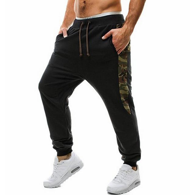 2016 Otoño patchwork silm fit pantalones harén de la cadera hop camo camuflaje militar pantalones sarouel hombres parkour Pantalones