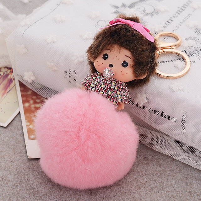 Lovely monchichi key chain luxury Rhinestone pendant key ring Brand keychain birthday gift rabbit fur ball keychain