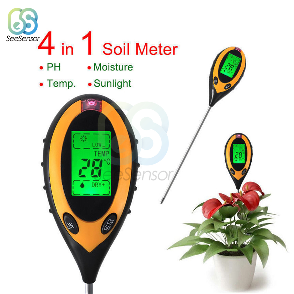 4 In 1 Soil PH Meter Soil Tester PH Moisture Meter Temperature Sunlight Intensity Measurement Analysis Acidity Alkali
