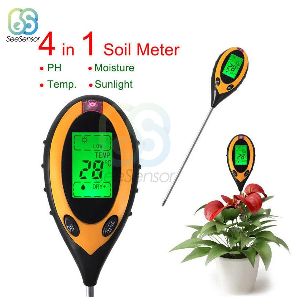 РН-метр для почвы 4 в 1, рН-метр для почвы, измеритель влажности, температуры, интенсивности солнечного света, кислотности, щелочи