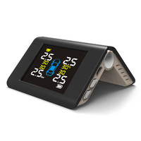 PSI BAR LCD Display Tire Pressure Monitoring System Solar USB Charging 2 Charge 4 Extrenal Sensors