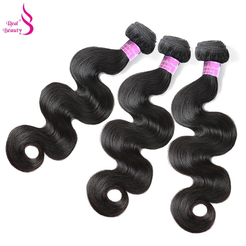 Real Beauty Peruvian Human Hair Weave Body Wave Hair 3 Bundles Remy Hair Bundles 8-30 Natural Color