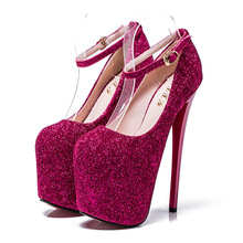 Extreme High Heels 19cm Women Pumps Round Toe Glitter Dress Wedding Shoes Strappy Sexy Ladies Party Platform Shoes Size 34-43 enmayla sexy thin high heels 14cm pumps round toe women shoes glitter platform pumps ankle strappy party shoes black red blue