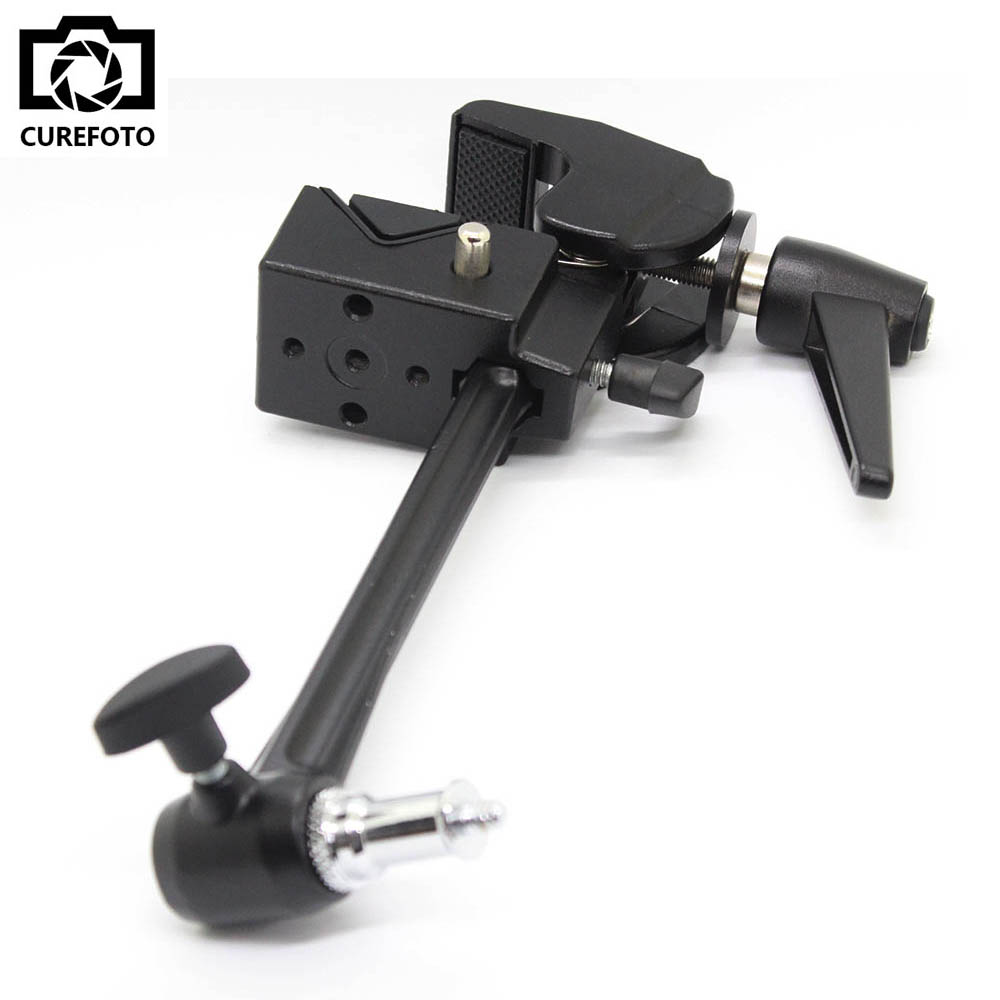 Big Super Clamp with Extension Arm And Standard Stud 1 4 3 8 Thread Light Stand
