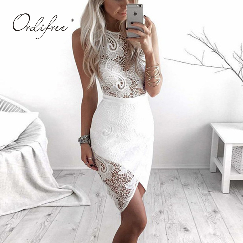 Ordifree 2019 Summer Women White Lace <font><b>Dress</b></font> <font><b>Club</b></font> <font><b>Wear</b></font> Wrap <font><b>Dress</b></font> <font><b>Sexy</b></font> Bodycon Midi <font><b>Dress</b></font> image