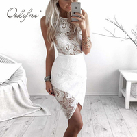 Ordifree 2019 Summer Women White Lace Dress Club Wear Wrap Dress Sexy Bodycon Midi Dress