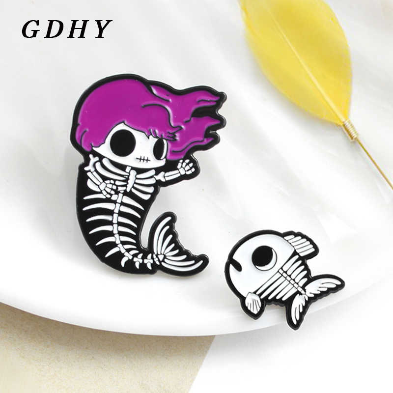 GDHY Mermaid Pins Mermaid Skeleton Fishbone เข็มกลัดผมสีม่วง Mermaid Fish Bone Skeleton เด็ก Enamel Pins Badge เข็มกลัด