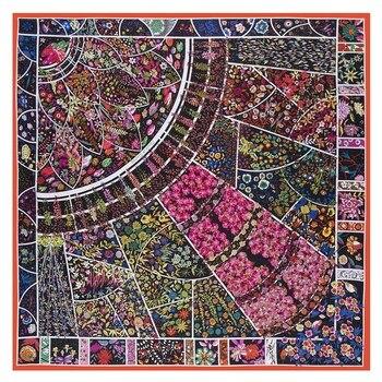 36ac77e6ac9c Богемный стиль квадратный шарф все цветы цветут вместе роскошный бренд 100%  Twill Шелковый шарф женский