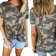 Women's Camouflage Print Summer Knot O-neck Short Sleeve Tops T Shirt Ladies Printing Tee Women Casual Fashion T-Shirts