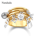 Nandudu Key Ring pear Lock adorns antique gold plated ring female women engagement wedding party Jewelry Gift R317