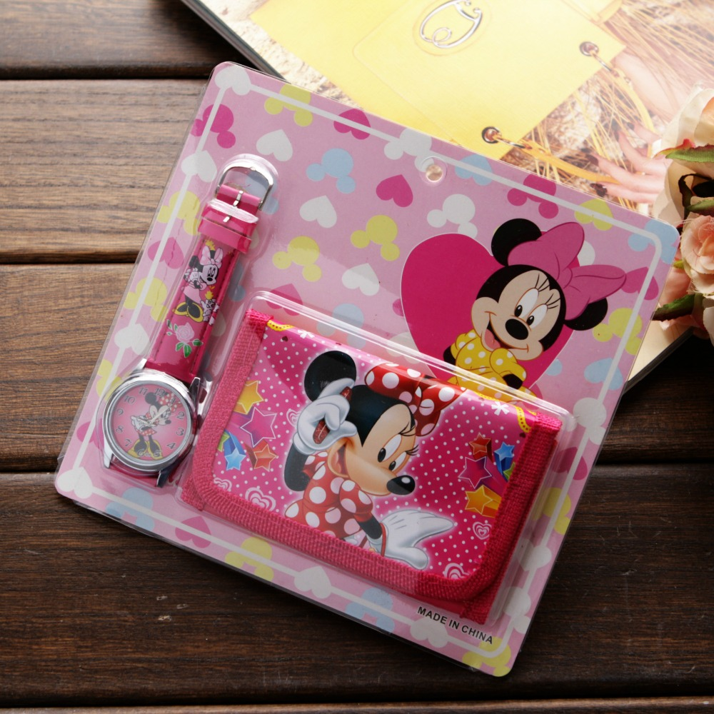 New Children Cartoon Wallet Watch Set Spiderman Mickey Minnie Watches Students Birthday Gifts Quartz Leather Clock(China)