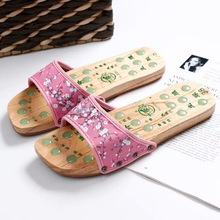 Summer Stone Acupuncture Foot Massage Slippers Wooden Acupoint Reflexology Massages Sandals
