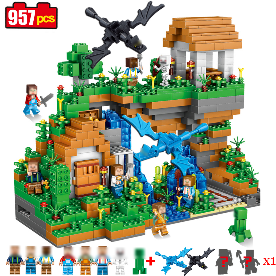 957pcs My world Hidden water falls Compatible Legoed Minecrafted model Building Blocks Bricks Educational toys for children gift lele my world power morse train building blocks kits classic educational children toys compatible legoinglys minecrafter 541 pcs