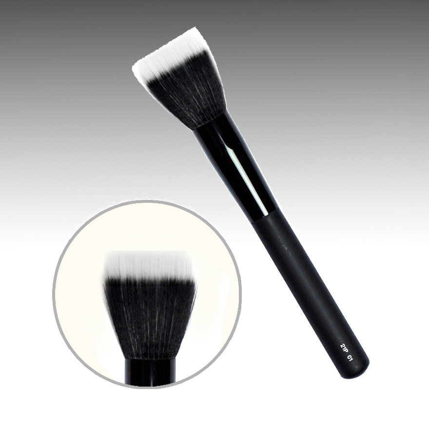 21P01 Professional Makeup Brushes Synthetic Fiber Foundation Brush Black Handle Cosmetic Tools Face Powder Make Up Brush hot msq new product single foundation black synthetic makeup brush big wood handle cosmetic make up kit free shipping