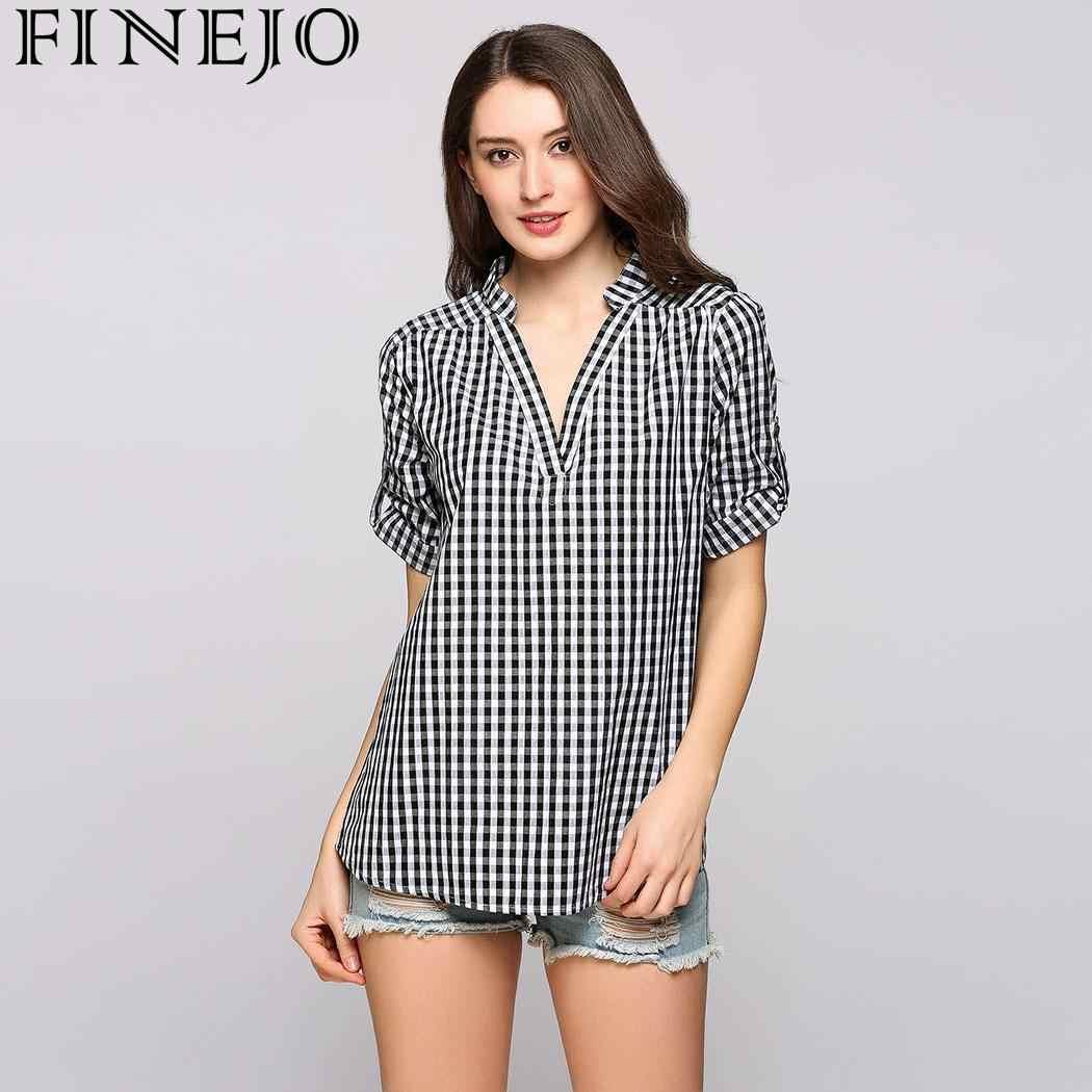... FINEJO Women Plaid Shirts 2018 Spring Long Sleeve Blouses Shirt Office  Lady Cotton Lace Shirt Tunic ... 5007415c4b38