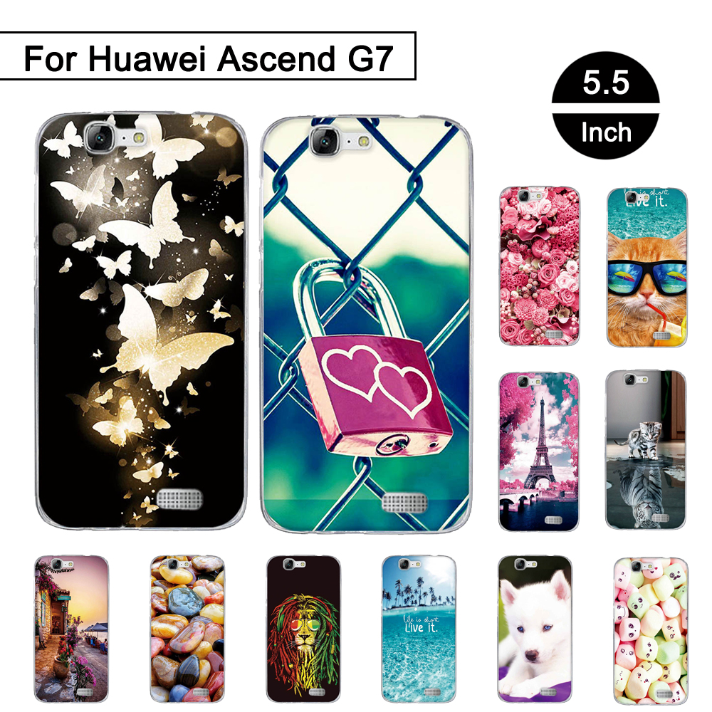 Silicon Case For Huawei Ascend G7 C199 Back Phone Cover For Huawei G7-L01 G7-L03 Soft TPU Cases Painted Protection Shells Coque