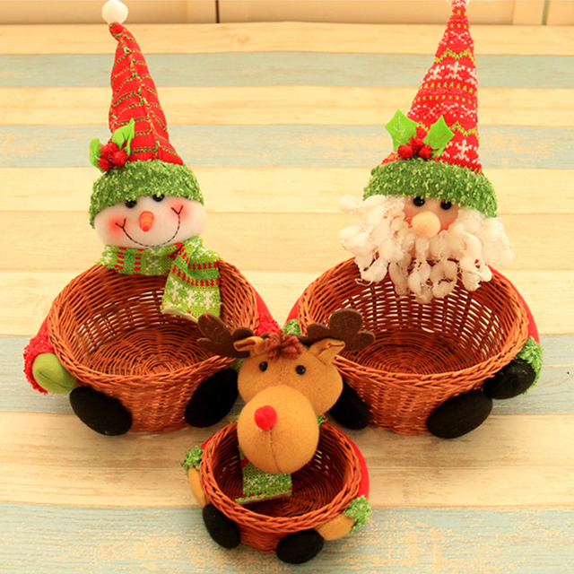 3pcs lovely handmade basket christmas box christmas decorations candy box christmas desktop decoration event party supplies - Christmas Basket Decorations