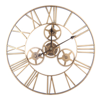 24 Inches 60cm Wrought Iron Hollow Gear Mute Wall Clock Roman Numeral Silent Wall Clock Hanging Clock Decor Retro Gold