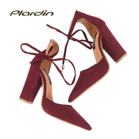 Plardin 6 Colors Pointed Strappy Pumps Sexy Retro High Thick Heels Shoes 2018 New Woman Shoes