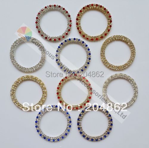 100PCS 50mm Assorted Colors czech crystal rings rhinestone buckles with SS12 3mm stones in Gold Sliver