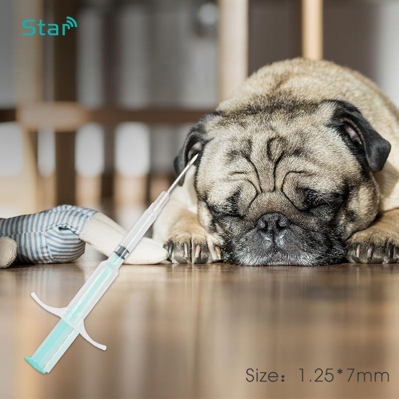 100pcs Pet 134.2KHz glass Microchips ISO11784 FDX-B Mini size 1.25*7mm Animal Microchip Syringe Pet Id Injector for fish/ turtle