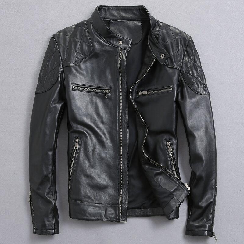 David Beckham Réel Veste En Cuir de Vente Chaude Automne Hiver Mode Hommes Noir Couleur Véritable Veste En Cuir Vêtements pour Hommes Top Qualité