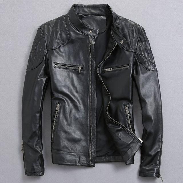 David Beckham Real Leather Jacket Hot Sale Fall Winter Fashion Men's Black Color Genuine Leather Jacket Men's Wear Top Quality