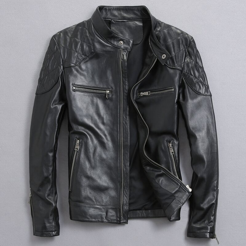 David Beckham Real Leather Jacket Hot Sale Fall Winter Fashion Mens Black Color Genuine Leather Jacket Mens Wear Top Quality