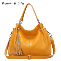FoxTail & Lily New Fashion Tassel Genuine Leather Bag Women Real Leather Tote Handbags Luxury Designer Shoulder Crossbody Bags