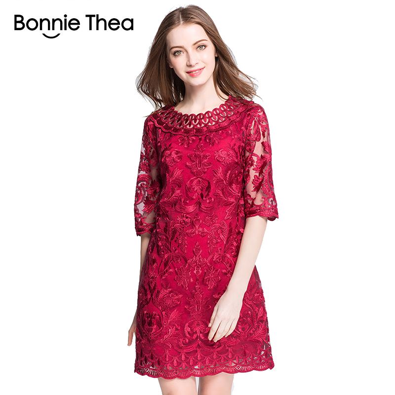 Frauen rote Spitze Stickerei Plus Size Kleider Herbst elegante große - Damenbekleidung - Foto 1