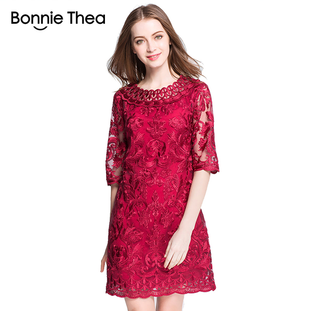 US $28.38 29% OFF|Women red lace embroidery Plus size Dresses Autumn  Elegant big size short Dress Large size party work lady dress L 5XL  Vestidos-in ...