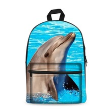 купить Canvas Backpack Black Daypack laptop Bag Cute  Dolphin Design for Boys Girls School mochila Bag дешево