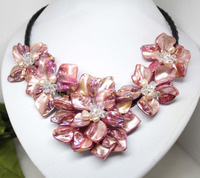 Hot sale new Style >>>>> Fashion handmade charm mother red shell pearl crystal five flowers the necklace