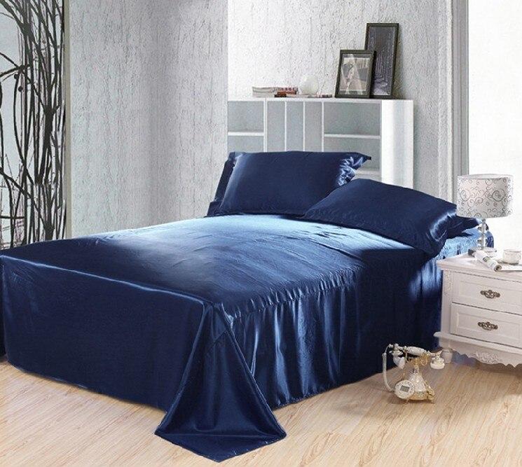 Oscuro azul juego de cama de satén de seda de california king size ...
