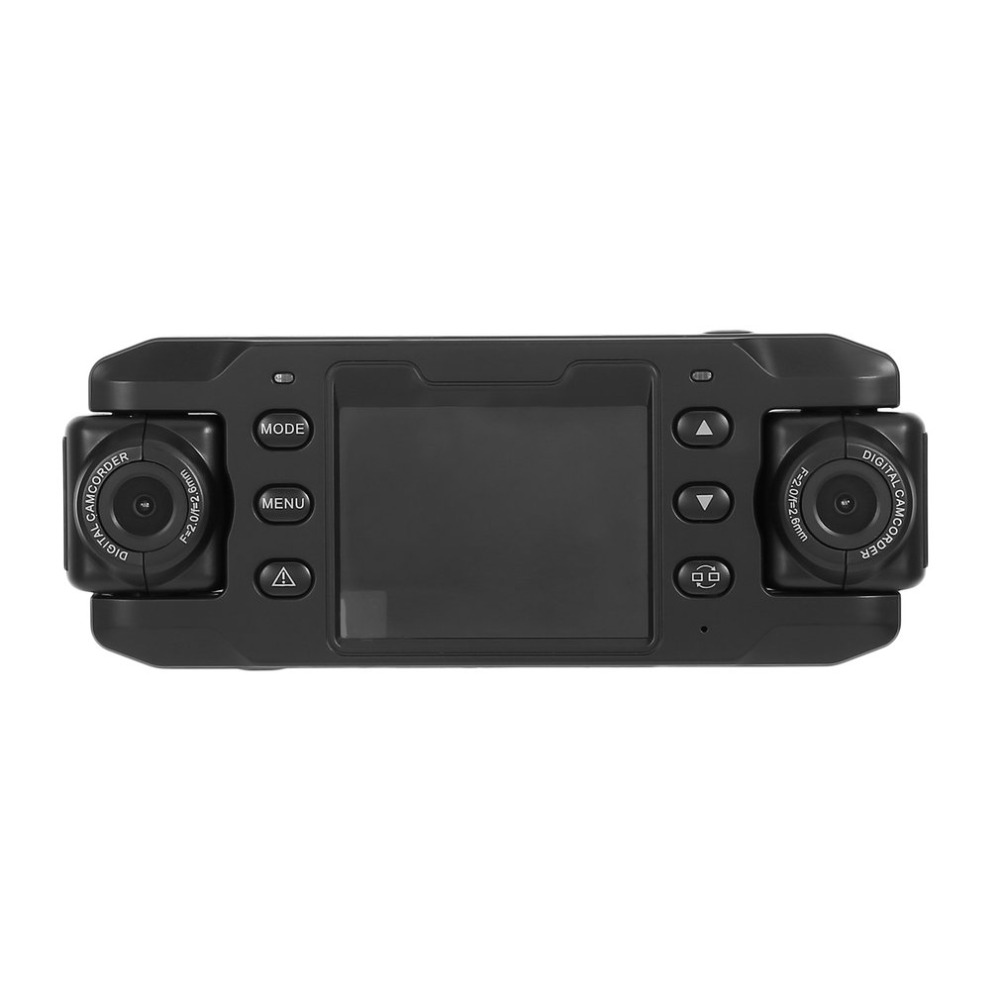 Dual Lens Car Camera Twins Cam DVRs Car DVR Dash Cam Loop Recorder GPS Tracker 2.3 inch HD Camcorder with G-sensor