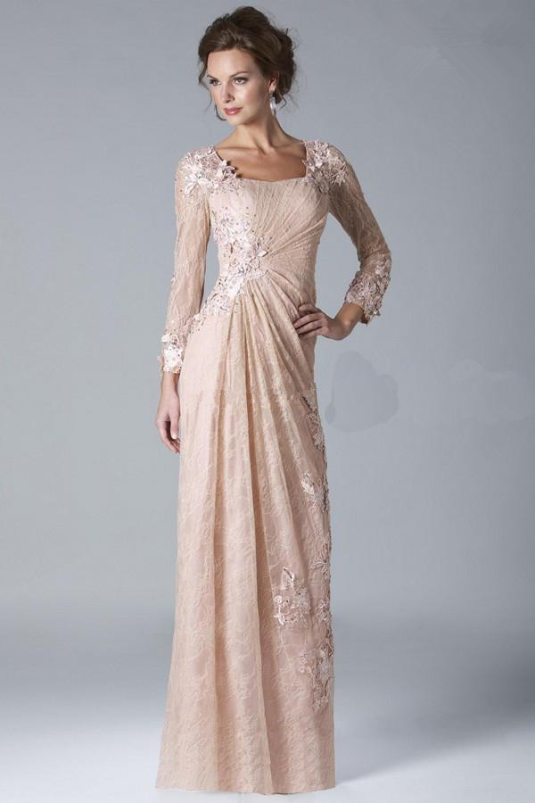 Plus Size 2019 Mother Of The Bride Dresses Sheath 3/4 Sleeves Appliques Lace Beaded Formal Groom Long Mother Dresses For Wedding