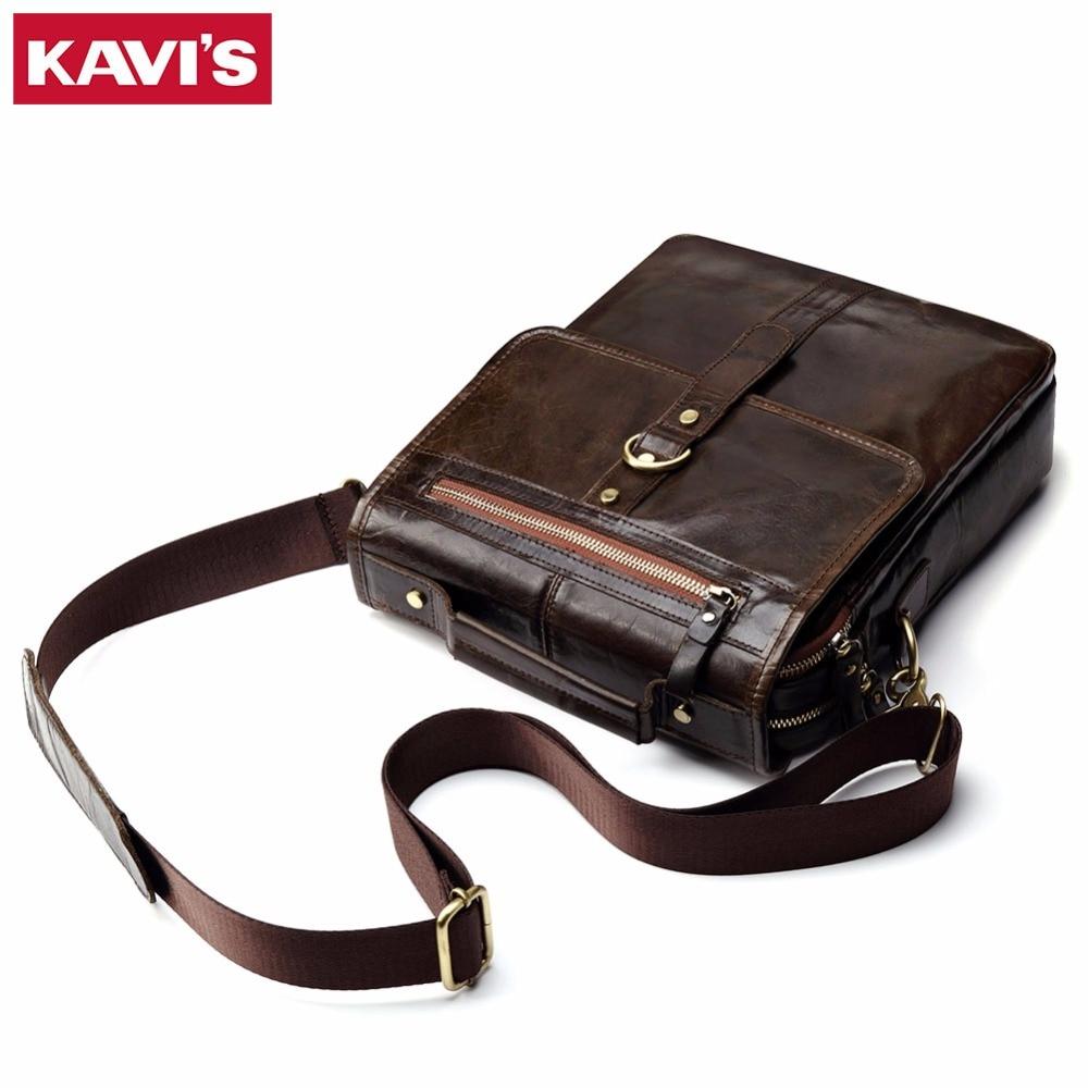 KAVIS 100% Cowhide Genuine Leather Original Messenger Bag Men Shoulder Crossbody Handbag Bolsas Sac Sling Chest For Male Small